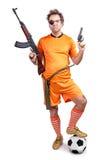 Вооруженный футболист стоковые изображения