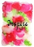 воодушевьте Рукописное слово на яркой красочной предпосылке акварели Вдохновляющая цитата, литерность щетки для карточек, плакато иллюстрация штока