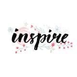 воодушевьте Рукописное слово с пастельным пинком цветет украшение Вдохновляющая литерность иллюстрация штока