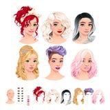 воплощений 6 стилей причёсок, 6 макетируют, 6 ртов, 1 голова бесплатная иллюстрация