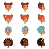 Воплощения женских сторон с различными стрижками и стилями причёсок Фронт и взгляд со стороны Изолированная плоская иллюстрация в Стоковые Фотографии RF