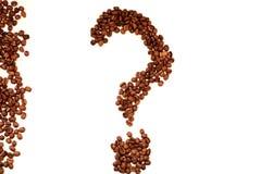 Вопросительный знак взгляда сверху крупного плана кофейных зерен стоковая фотография rf