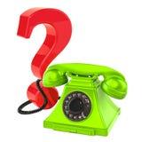 Вопросительный знак с телефоном, концепция Q&A перевод 3d Стоковое Фото