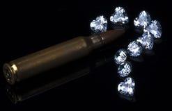 Вопросительный знак диамантов с пулей Стоковое Фото