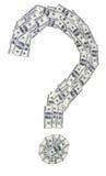 Вопросительный знак сделанный банкнот Стоковое Фото