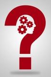 Вопросительный знак с шестернями и головой Стоковые Изображения RF