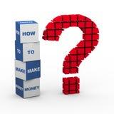 вопросительный знак 3d зарабатывает деньги Стоковая Фотография RF