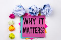 Вопросу о текста сочинительства показывающ почему он имеет значение написанный на липком примечании в офисе с шариками бумаги вин Стоковая Фотография