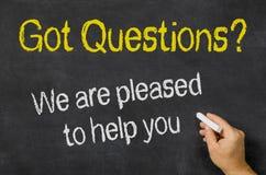 Вопросы - мы довольный для того чтобы помочь вам Стоковое фото RF
