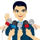 Вопросы о прессы политика отвечая Стоковые Фотографии RF