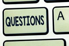 Вопросы о текста сочинительства слова Концепция дела для вопросительного выражения спрашивая ответы прося решения стоковое изображение