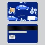 Вопросы ремонта автомобилей карточки банка Шаблон образца дизайна изолированный на серой предпосылке Передняя и задняя сторона Стоковые Фотографии RF