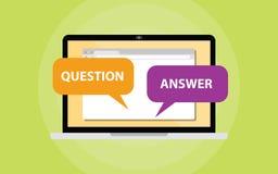 Вопрос и ответ беседуют концепция на экране компьтер-книжки иллюстрация вектора