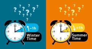 Вопрос о даты летнего времени Красочные установленные будильники временени зимнего времени и цветастая иллюстрация Стоковая Фотография RF