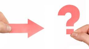 вопрос о метки стрелки Стоковое фото RF