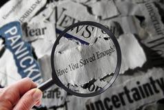 Вопрос о новостей сбережений выхода на пенсию Стоковое Фото
