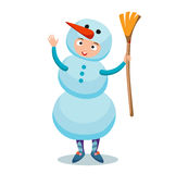 Воплощение значка снеговика плоское Стоковые Изображения