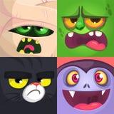 Воплощения квадрата хеллоуина Мумия, зомби, черный кот, вампир Иллюстрации шаржа вектора стоковые фотографии rf