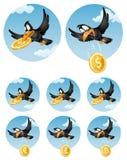 Ворона летания падает символ различных валют Доллар, eu иллюстрация штока