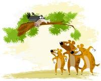 Ворона дразнит гиену бесплатная иллюстрация
