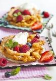 Воронка испечет с свежими ягодами и взбитой сливк стоковые фотографии rf