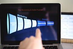 Воронка продаж маркетинга показала на мониторе компьютера Мужская рука указывая на ее стоковое фото