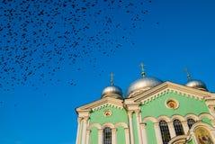 Вороны над собором святой троицы Diveevo Россия Стоковая Фотография