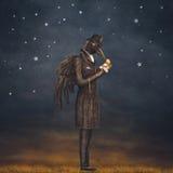 Ворон на ноче смотрит вахту бесплатная иллюстрация