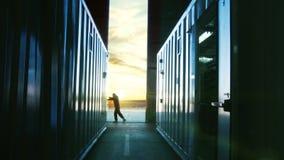 Ворота ангара отверстия механика на заходе солнца видеоматериал