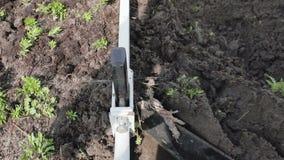 Ворот вытягивает кабель к которому плужок прикреплен Вспахивать землю на ферме Человек вспахивает землю с плужком видеоматериал