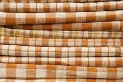 ворох хлопко-бумажная ткани предпосылки коричневый Стоковое Изображение RF