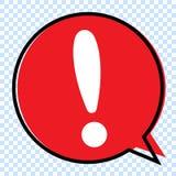 Восклицательный знак в красном пузыре речи, иллюстрации вектора иллюстрация вектора