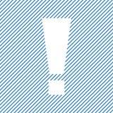Восклицательный знак Знак предупреждения или внимания на голубой striped предпосылке вектор иллюстрация вектора