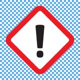Восклицательный знак, символ квадратной опасности предупреждающий, значок вектора иллюстрация штока