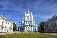 Воскресение Smolny собора Христоса в Санкт-Петербурге Стоковые Фотографии RF