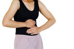 Воспаление покрашенное в красном страдании страдание живота тягостное от причин stomachache периода менструации стоковая фотография rf