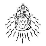Воспетый Иисус сидит на троне, втором пришествии иллюстрация штока