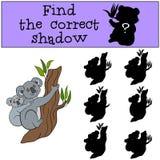 Воспитательная игра: Найдите правильная тень Коала матери с bab иллюстрация вектора