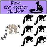 Воспитательная игра: Найдите правильная тень Лемур матери с bab иллюстрация вектора