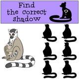 Воспитательная игра: Найдите правильная тень Лемур матери с bab иллюстрация штока