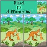 Воспитательная игра: Разницы в находки Кенгуру матери с ее bab иллюстрация вектора