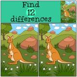 Воспитательная игра: Разницы в находки Кенгуру матери с ее bab иллюстрация штока