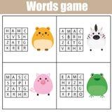 Воспитательная игра детей Головоломка поиска слова ягнится деятельность Тема животных Учить терминологию иллюстрация штока