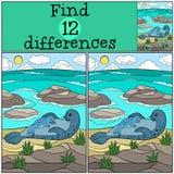 Воспитательная игра: Разницы в находки Морской котик матери с ее bab иллюстрация вектора