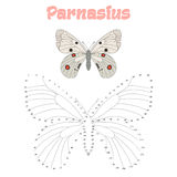 Воспитательная игра соединяет точки к бабочке притяжки Стоковые Изображения