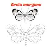 Воспитательная игра соединяет точки к бабочке притяжки Стоковые Фотографии RF