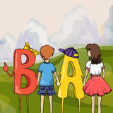 воспитательная иллюстрация Дети и ABC Дети с письмами иллюстрация вектора