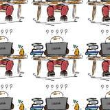 воспитательная иллюстрация Люди на работе Исследование, встреча, библиотека, жизнь студента картина безшовная Стоковые Изображения RF