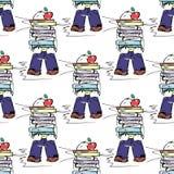 воспитательная иллюстрация Люди на работе Исследование, встреча, библиотека, жизнь студента картина безшовная Стоковые Изображения
