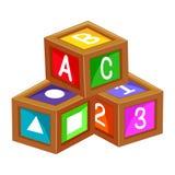 Воспитательный алфавит 123 блоков Стоковые Изображения